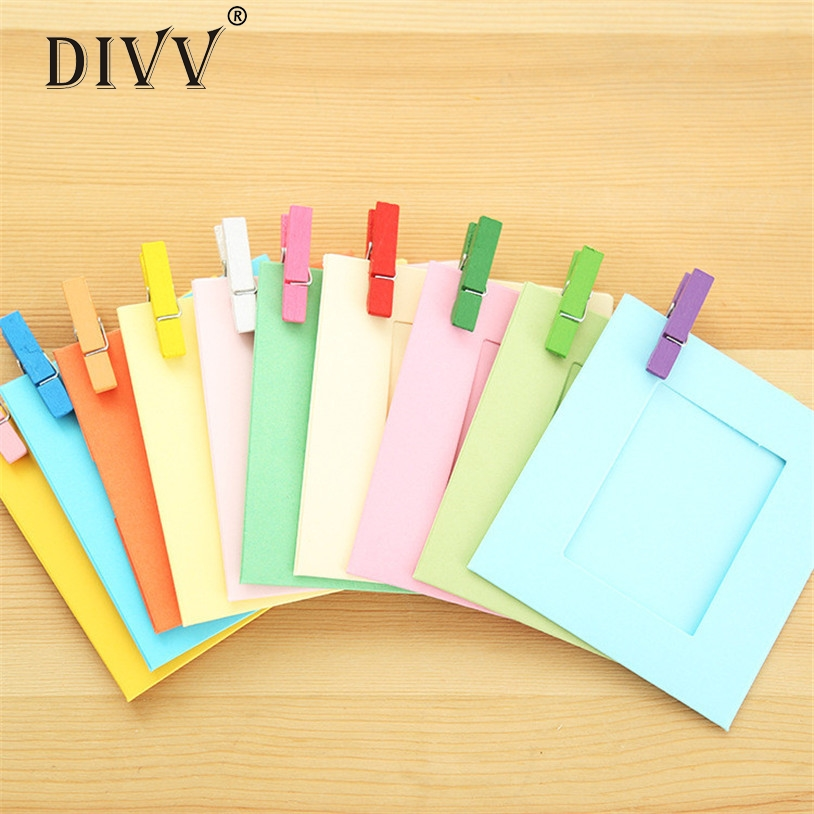 Divv 10pcs 3inch Color Paper Photo Frame Wall Picture