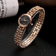 2017 Fashion Luxury Women's Watch Gold Mesh Stainless Steel Beaded Bracelet Analog Quartz Wrist Watches