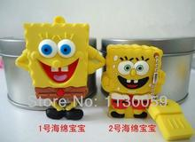 qualityPromotion square SpongeBob cartoon usb 4G8G 16G 32GB USB Flash drive  Memory Drive Stick Pen/Thumb  U disk S57usb stick