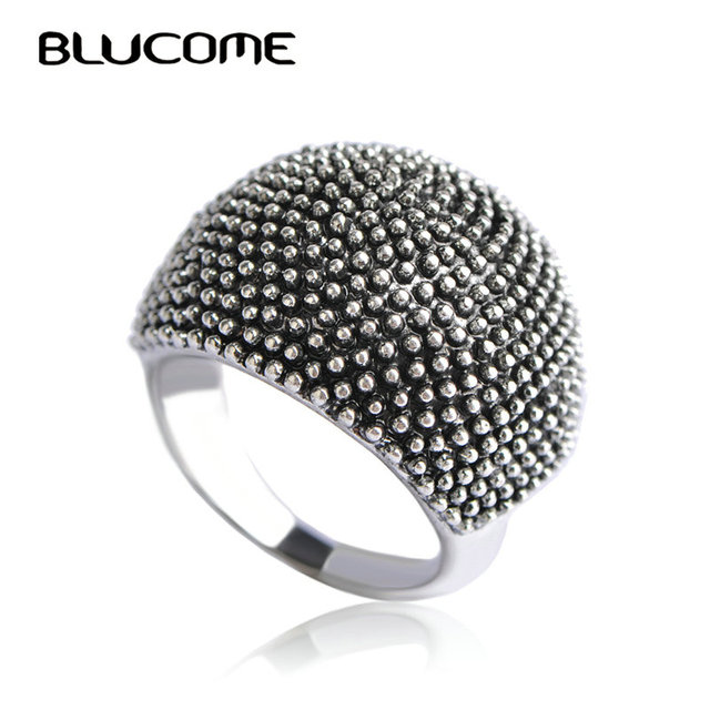 Blucome Vintage Big Round Rings For Women Lady Party Wedding Bands Anniversary S
