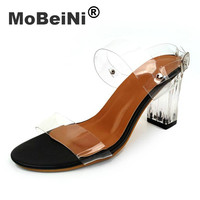 2017 New Fashion Transparent Glass Glue Crystal With High Heels Women Sandals Leisure High Quality PVC