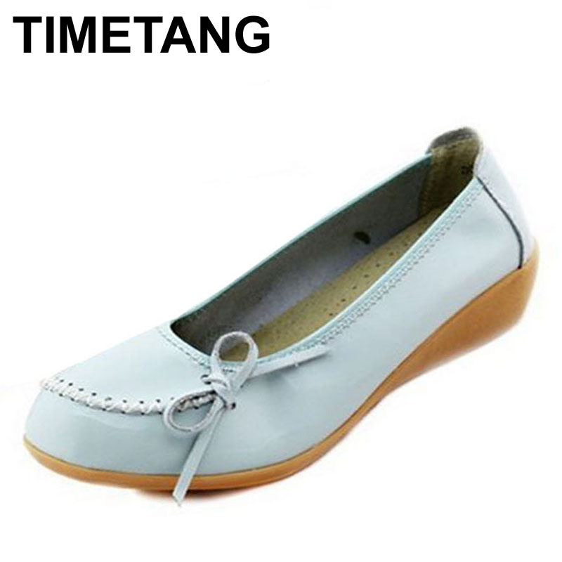 TIMETANG Genuine Leather Flats Women Platform Shoes Fashion Style Autumn/Spring Shoes Woman Mother Shoes Large Size 4 Colors timetang 2017 leather gladiator sandals comfort creepers platform casual shoes woman summer style mother women shoes xwd5583