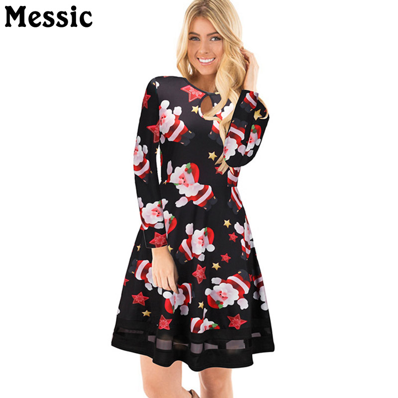 Messic Casual Tunic Tulle Patchwork Christmas Dress Women 2017 Winter Santa Claus Mini Robe Femme Long Sleeve Ladies Dresses