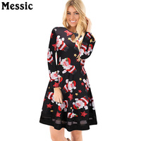Messic Casual Tunic Tulle Patchwork Christmas Dress Women 2017 Winter Santa Claus Mini Robe Femme Long