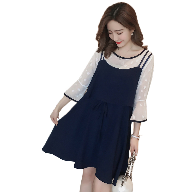 Pengpious Pregnant Women Breastfeeding Dress Flare Sleeve