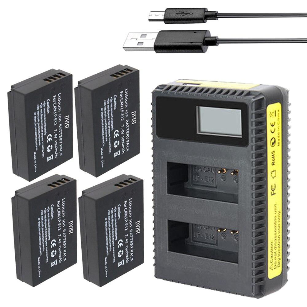 4 pièces 1800 mAh LP-E12 appareil photo numérique batterie + chargeur pour Canon LP E12 EOS M M2 100D Kiss X7 rebelle SL1 Batteries rechargeables