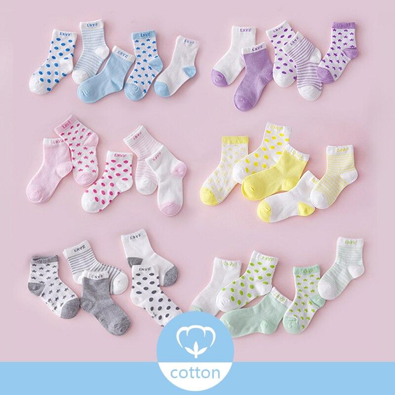 5 Pairs/Lot Winter Autumn Kids Socks Boys Girls Children Warm Socks Mesh Cotton Solid Cute Anti Slip Anti-Slip Sock Set Gifts