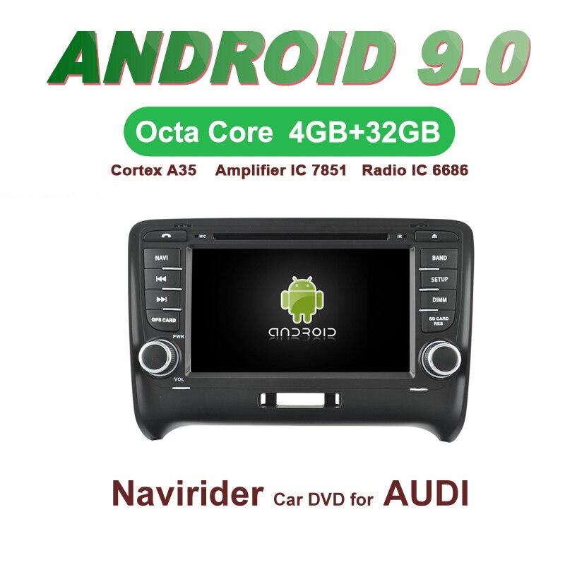 OTOJETA voiture GPS 7 pouces Android 9.0 Radio pour AUDI TT 2006-14 unité principale bluetooth Navigation écran capacitif support miroir lien