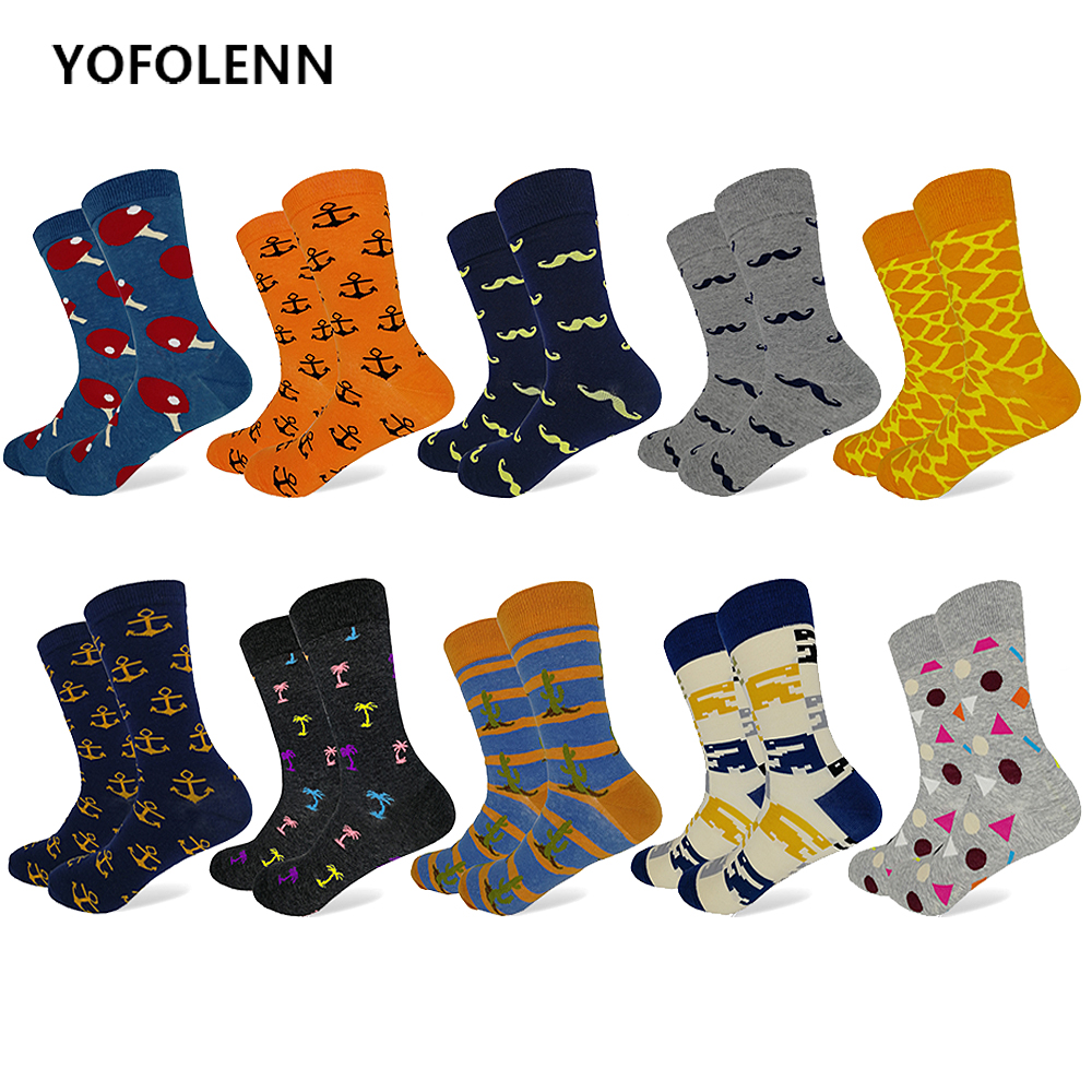 10 Pairs/Lot Combed Cotton Black Mens Dress Sock Colorful Funny Pattern Long Happy Socks for men Best Gift Wholesale