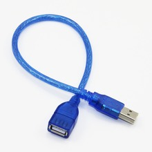 30cm USB 2.0 Extension Cable Male to Female M/F Dual Shielding(Foil+Braided) High Speed Transparent Blue