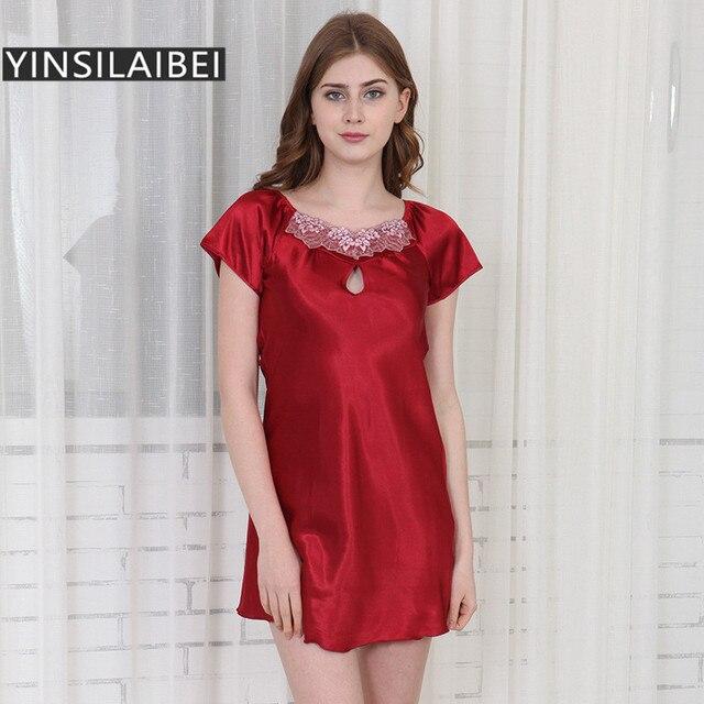 cf0fa3306 Sexy Nightgowns Mulheres Pijamas Feminino Longa Camisola De Cetim de Seda Plus  Size Sleepwear Seda Camisola