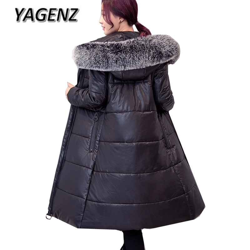 Winter Women Cotton Jacket Hooded Coats Fashion Large Fur collar Slim PU leather Long Outerwear Thick Warm Loose Cotton Coat 6XL