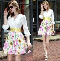 2016 Autumn Women New Fashion Was Thin Waist Slim Dress White Stitching Daisies Printing Dress AXD1482