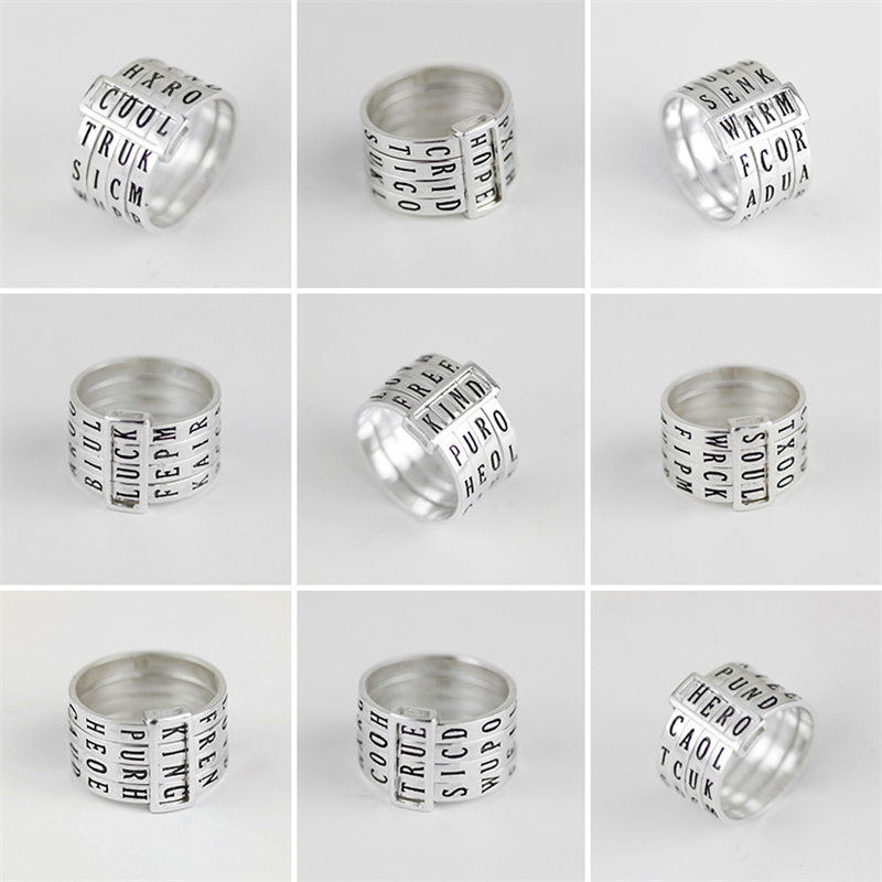 Image 3 - Lotus Fun Real 925 Sterling Silver Natural Handmade Fine Jewelry  Rotatable Ring Can Make Different Words Rings for Women Bijouxring  forrings for womenring ring