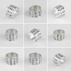 Image 3 - Lotus Fun Real 925 Sterling Silver Natural Handmade Fine Jewelry Rotatable Ring Can Make Different Words Rings for Women Bijoux