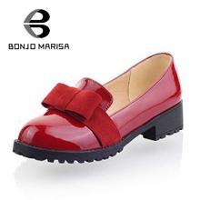 BONJOMARISA Большой Размер EUR 34-43 Мода Весна Осень Досуг Низком Каблуке Обувь для Девочек Прекрасный Бабочкой Насосы Платформы Женщин обувь