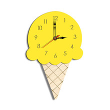 New best selling home cartoon creative wall clock Living room acrylic ice cream childrens decoration