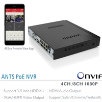 ANTS Desktop 4CH 8CH Onvif 1080P PoE NVR For IEEE802 3af Onvif IP Cameras GooLink And