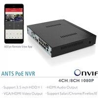 ANTS Desktop 4CH 8CH Onvif 1080P PoE NVR For IEEE802 3af Onvif IP Cameras GooLink And