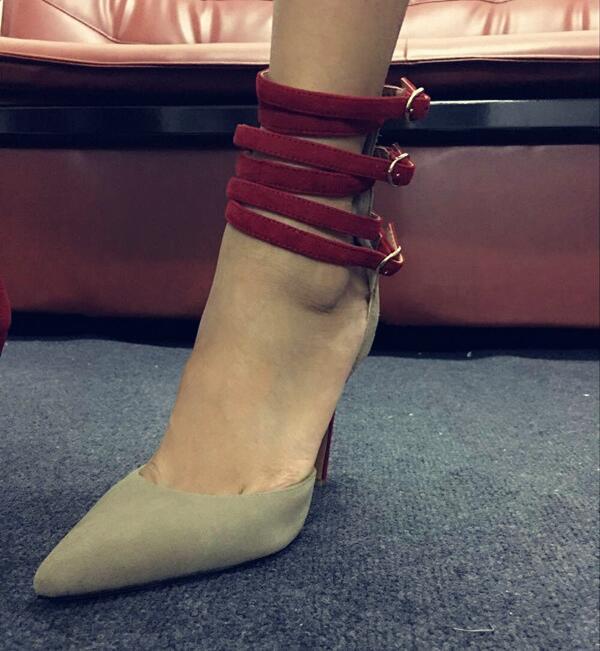 Buckl Noir Pompes Sexy Partie Femmes Dames Cheville Chaussures Gris Talons 42 Point Pompe Femme Toe Mariage De Hauts 35 0qwxdxg6