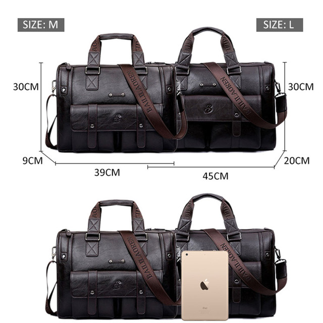 Men Leather Black Briefcase Business Vintage Shoulder Bag 4