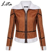FINEJO Women Casual Turndown Neck Long Sleeve Leather Patchwork Cotton Short Jacket Coat Brown S-XL