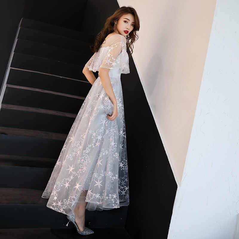 שמלות נשים המפלגה לילה אפור שמפניה O-צוואר אונליין שמלה לנשף אלגנטי טול ארוך מותאם אישית בתוספת גודל Vestidos דה גאלה 2019 e441