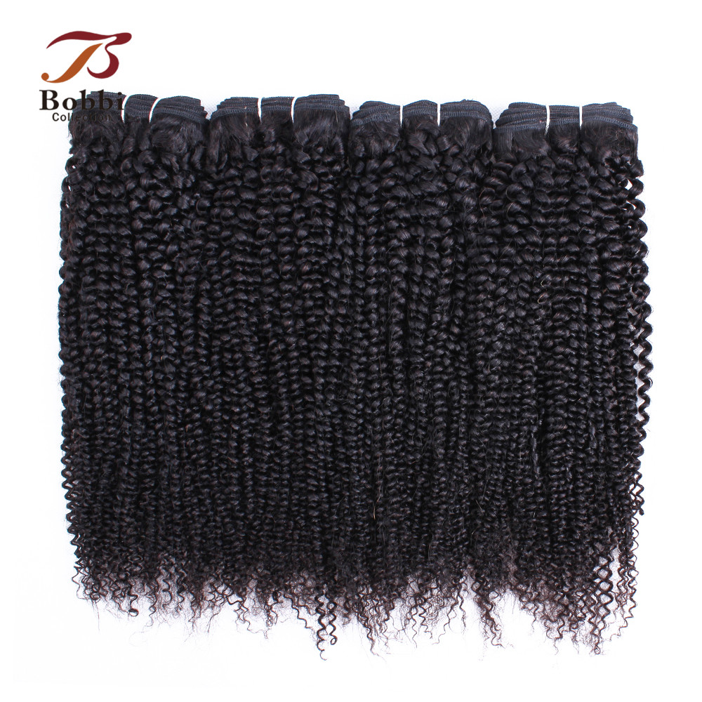 Bobbi Collection Indian Afro Kinky Curly Hair Weave Bundles 3/4 Bundle Deals Natural Color Non-Remy Human Hair Extension