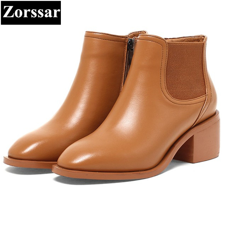 {Zorssar} 2017 NEW arrival fashion High heels Women Chelsea Boots Square toe thick heel ankle boots autumn winter female shoes fringe wedges thick heels bow knot casual shoes new arrival round toe fashion high heels boots 20170119