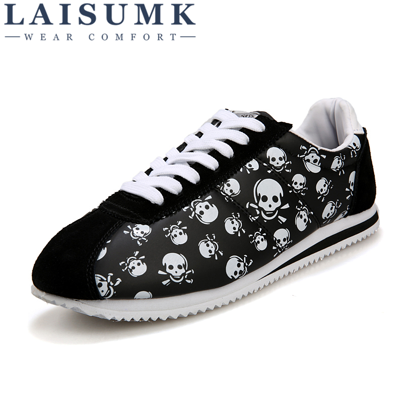 2018 LAISUMK Spring Summer Luxury Brand Casual shoes,light Originality Skull Heads Print Cortez Hip Hop Flat Shoes