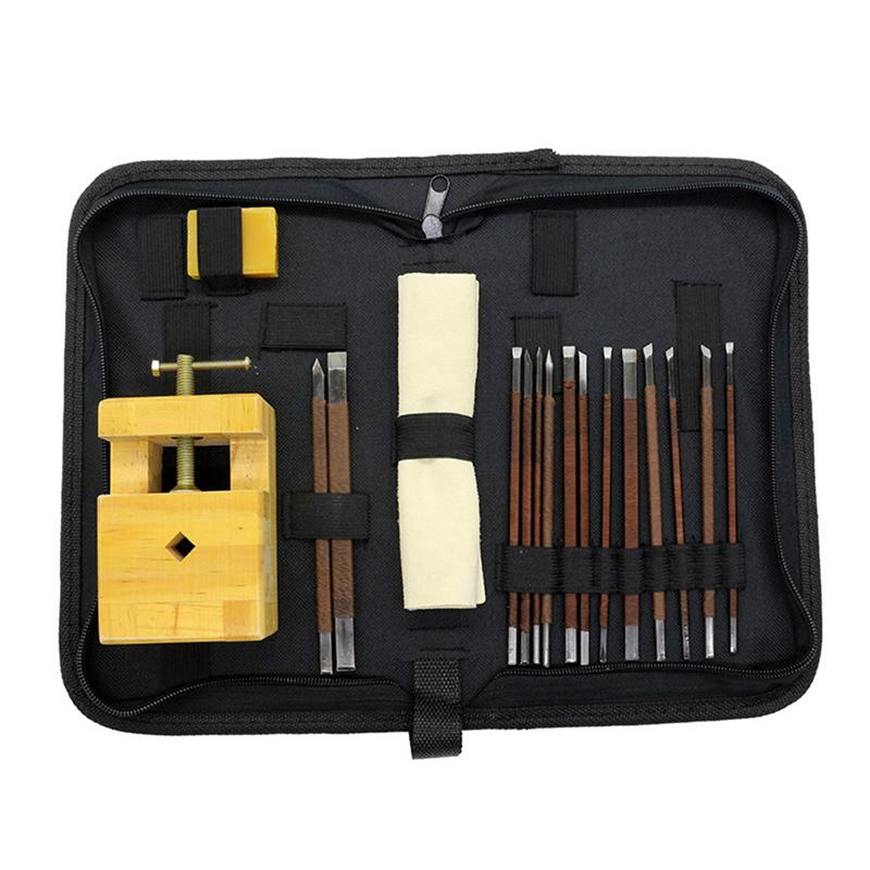 18pcs Durable Stone Carving Tool Kits Manganese Steel Hand Engraving Knife Carving Chisels Vise Clamp Carving Tool (Pine)