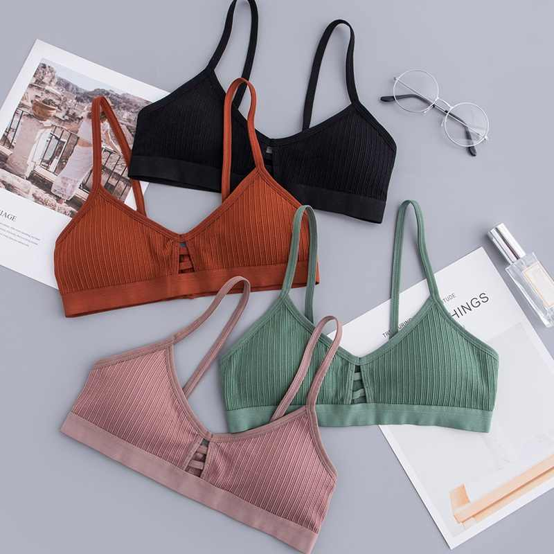 Seamless Tube Top Brassiere Front Hollow Out Tank Top Women Cotton Bra Underwear