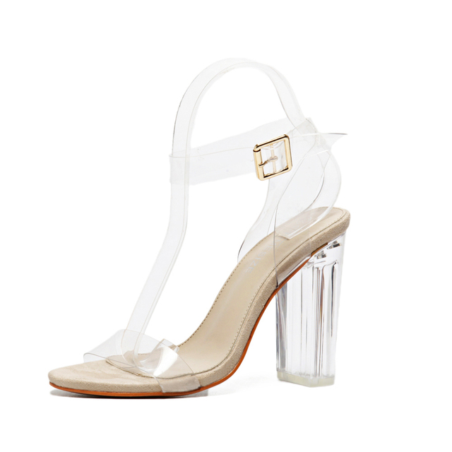 Mulheres gladiador sandálias das senhoras bombas grossos sapatos de salto alto mulher de Cristal Claro Transparente com tira no tornozelo sapatos de casamento festa