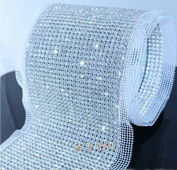 55f916f08c US $163.0  free shipping 24 rows clear Crystal rhinestone mesh trimming  chain Silver base White black fabric DIY sewing lace 5yards/roll-in ...