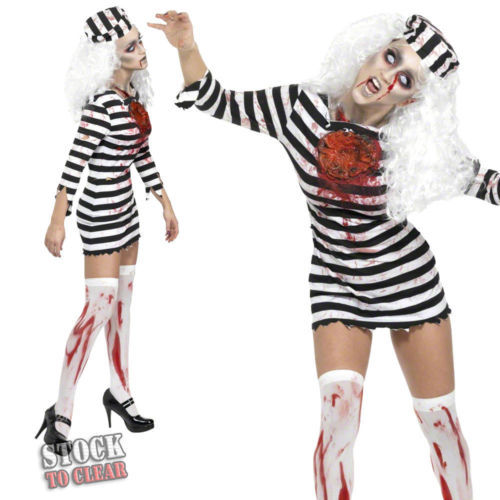 Halloween Cosplay Horror Bloody Stripe Female Prisoner Zombie Ghost Masquerade Women Costumes
