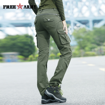 High Waist Pockets Trousers Green Casual Women Pants Military Cargo Pants Cotton Trousers Pleated Zipper Fly Straight Capris zipper fly straight leg pockets cargo pants