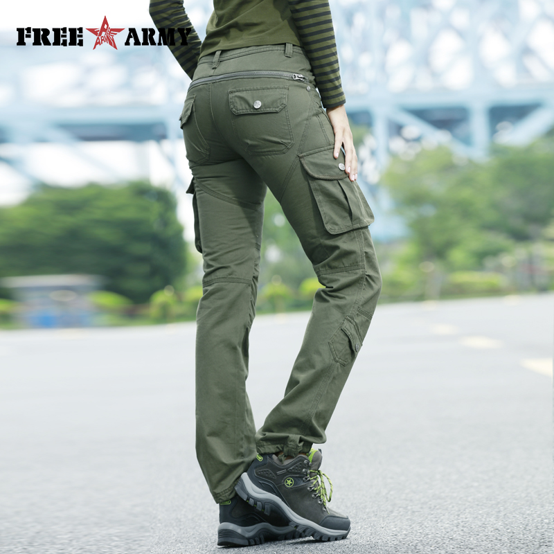 High Waist Pockets Trousers Green Casual Women Pants Military Cargo Pants Cotton Trousers Pleated Zipper Fly Straight Capris