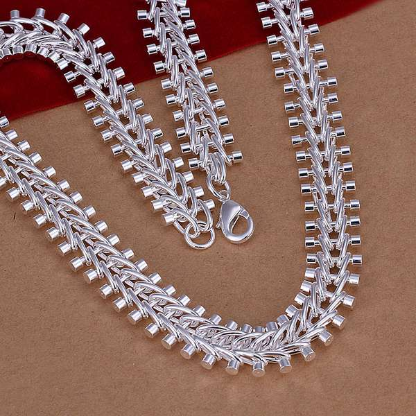 N166 925 sterling silver necklace 925 silver pendant for Fish bone necklace
