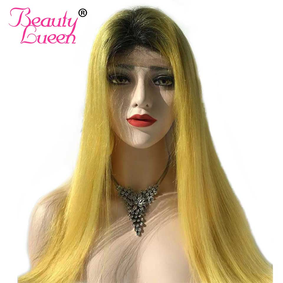 Ombre Lace Front Wig Human Hair T1B/Yellow(613) Honey Blonde Lace Front Human Hair Wigs Remy Lace Front Brazilian Straight Wigs