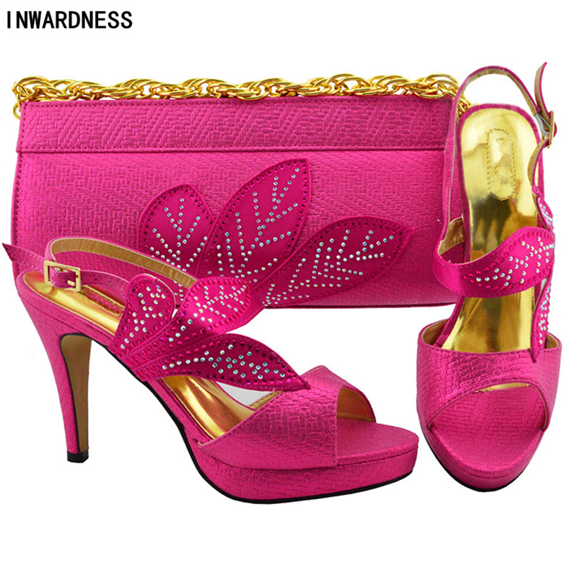 Nigérian Strass Italie Décoré Sac Chaussures Mis Chaussure Ciel Talons Nouvelle Mariage rose jaune Purple Et Femmes Pu Avec Ensemble De Arrivée watermelon l En argent 0pqZ8