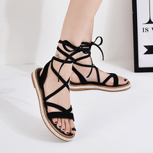 Summer women's leather flat sandals/New 2018 strappy size 33-42 harajuku strappy gladiator shoes /platform sandals Yasilaiya