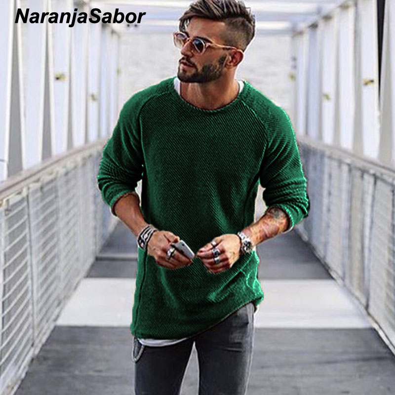 NaranjaSabor Men's Sweater 2020 Autumn Winter Slim Solid Sweater Men Casual Pull Jumper Male Brand Clothing EU Size N545