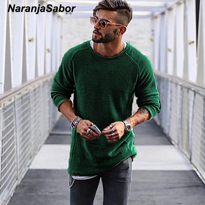 NaranjaSabor Men's Sweater 2020 Autumn Winter Slim Solid Sweater Men Casual Pull Jumper Male Brand Clothing EU Size N545