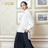 VOA 2018 осень мода чистый белый плюс размер однотонная Повседневная футболка высокий воротник тяжелый шелк нерегулярные Подиумные женские то