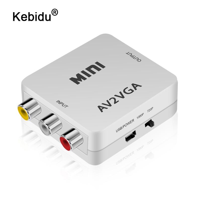 Мини-видеоконвертер 1080P RCA AV на VGA, видеопреобразователь с 3,5 мм аудио AV2VGA / CVBS + преобразователь Аудио на ПК HDTV
