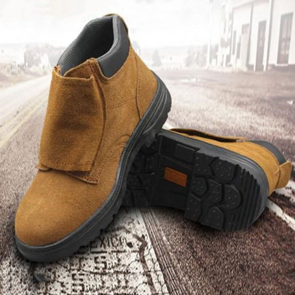 Welding Work Safety Boots Shoes Steel Toe Cap Anti-Smashing Non-Slip High Temperature Resistant Protective Shoes for Men tigergrip rubber non slip safety shoe boot cap visitor overshoe anti smashing steel toe cap boot men and women work shoes cover