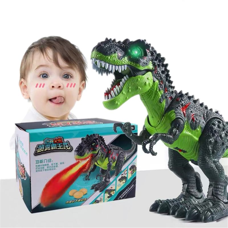 OOTDTY Simulated Flame Spray Tyrannosaurus T-Rex Dinosaur Toy Kids Walking Dinosaur Water Spray Red Light & Realistic Sounds