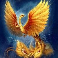 Beadwork Rzemiosło 5D DIY Diament Malarstwo Złoty Feniks Ptak Rysunki zdjęcia Kryształy Mozaika Hobby Haft Rhinestone