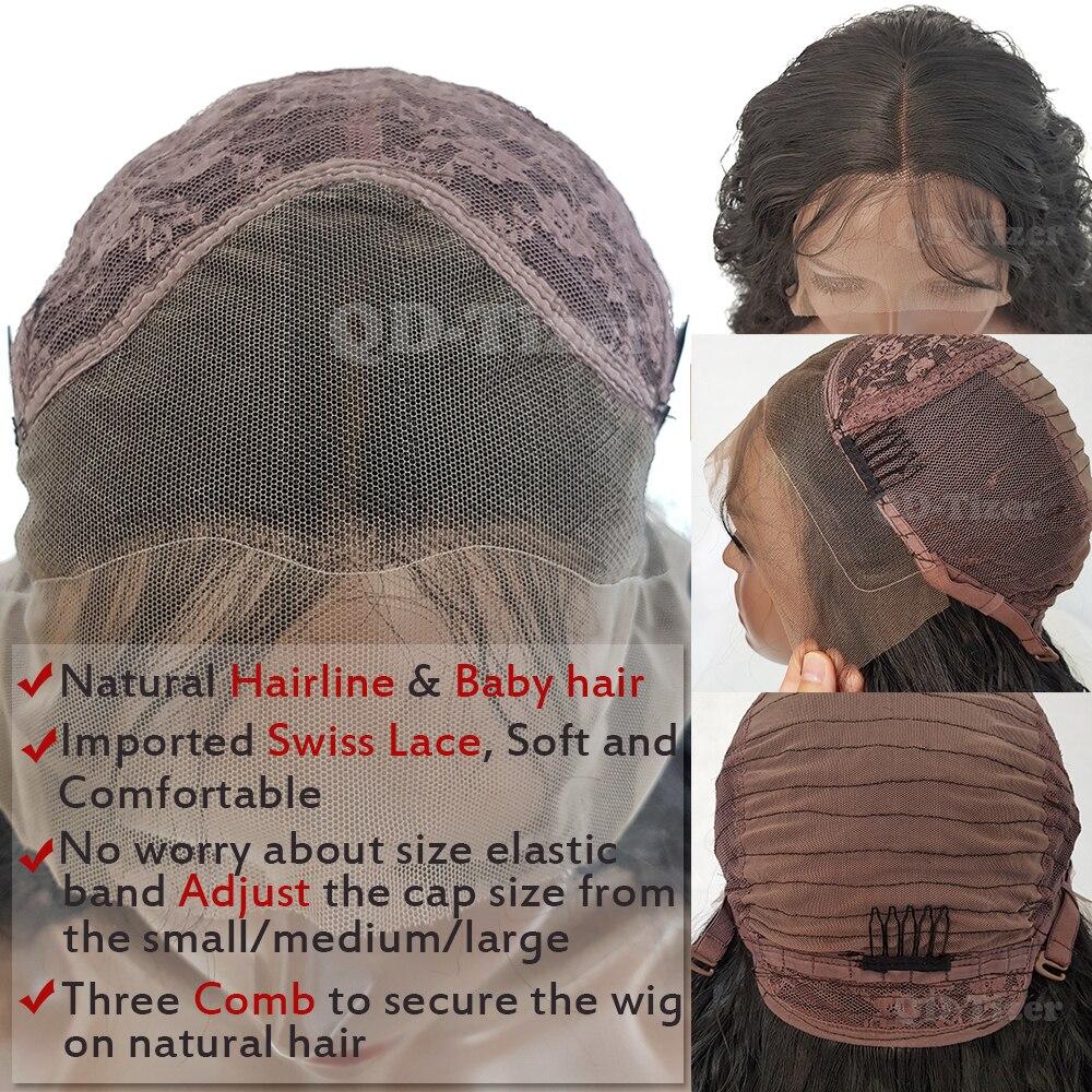QD-Tizer Short LooseWavy Hair Synthetic Lace Wigs med Baby Hair Black - Syntetiskt hår - Foto 6