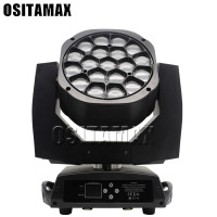 free shipping LED Zoom Wash 19x15w LED Stage Light Bee Eye Moving Head DMX512 DJ Machine RGBW 4IN1 Beam Disco Light
